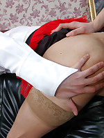 Sultry babe punishing her sissified French maid strap-on fucking his ass