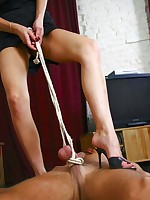 Smoking blonde domina humiliates her boytoy before switching on to perverted cock and ball torture