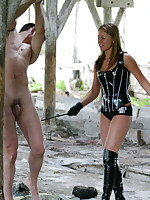 Cruelty on an abandoned farm by latex beauty Tatiana and her slave