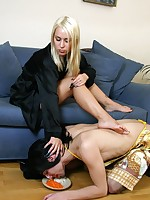Slave in a maid outfit serves his beautiful mistress and suffers humiliations