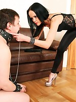 Nasty cuffed pony boy writhing and bawling under his Mistress's sharp heels