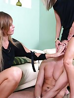 Two dom ladies tie a pizza boy up to give him a lesson