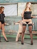 Two young Russian Mistresses using their slave's mouth instead of urinal