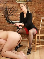 Young dominatrix picks the thickest strapon for her masked fat-ass boy toy