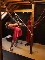 Lucimay ties up this pink TGirl for being a naughty slut and gives her a little bit of punishment.