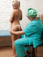Medical embarrassment of an undressed blonde cutie