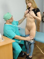 Beautiful blondie going thru a nude checkup